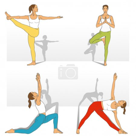 Yoga Studio. Yoga class. Set of yoga poses (girl in red, blue, yellow, green and white clothes).