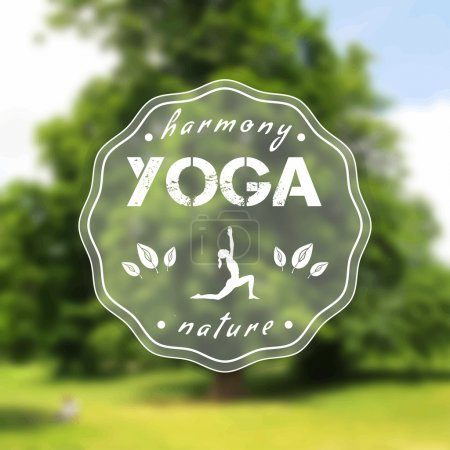 Illustration for Vector yoga illustration. Name of yoga studio on a tree background. Yoga class motto. Yoga sticker with a girl. Yoga exercises, recreation, healthy lifestyle. Poster for yoga class with a nature view. - Royalty Free Image