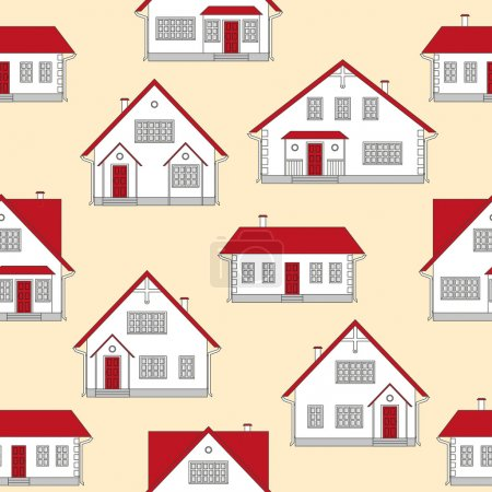 Illustration pour Illustration vectorielle. Fond de motif sans couture avec des maisons. Projets de maison en blanc, rouge, gris sur fond jaune. Maisons vectorielles comme un modèle sans couture. Immobilier . - image libre de droit