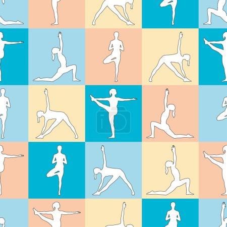 Yoga poses seamless pattern