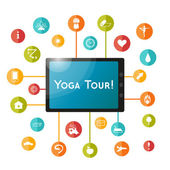 Yoga icons and  tablet