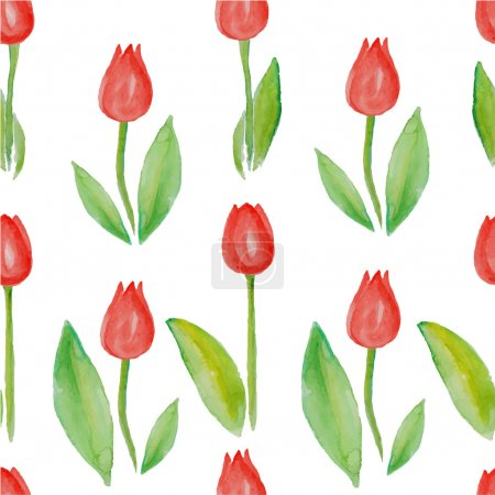 Illustration pour Motif floral sans couture avec tulipes (fleurs rouges avec feuilles vertes). Tulipes Aquarelle Rouge. Jardin de tulipes comme fond sans couture. Modèle de tulipes rouges sur fond blanc sans couture. Aquarelle avec tulipes . - image libre de droit
