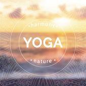 "Постер, картина, фотообои ""студия йоги на фоне заката"""