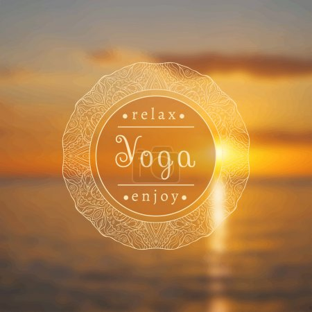 Illustration for Vector yoga illustration. Name of yoga studio on a sunset background. Yoga class motto. Yoga sticker. Vector yoga. Poster for yoga class with a sea view. Blurred photo background. - Royalty Free Image