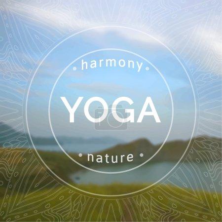 Illustration pour Illustration de yoga vectoriel. Nom du studio de yoga sur fond de nature floue. Devise du cours de yoga. Sticker de yoga vectoriel. Mode de vie sain. Affiche pour le cours de yoga avec un fond photo prairie en fleurs . - image libre de droit