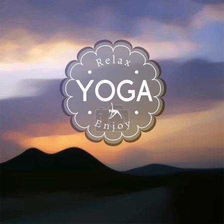 Illustration pour Illustration de yoga vectoriel. Nom du studio de yoga sur fond de collines floues. Affiche pour le cours de yoga avec un fond photo coucher de soleil - image libre de droit