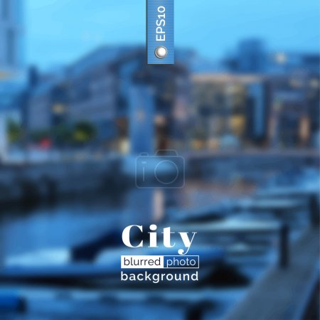 Illustration for Vector blurred photo background. Backdrop with city for poster. Travel poster with urban landscape. City design for website. Blur. Unfocus. Wallpaper for presentation, advertising, publishing, print. - Royalty Free Image