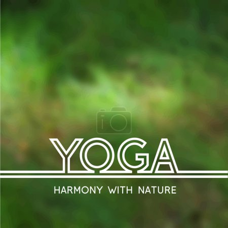 Illustration for Vector yoga illustration. Yoga poster with green grass. Poster for yoga studio or yoga class on a blurred photo background. Template for yoga website. Harmony with nature. - Royalty Free Image