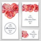 Vector illustration Save the date or wedding invitation templates with red roses Invitation cards with watercolor roses Hand drawn cards Set of invitation cards with watercolor flowers