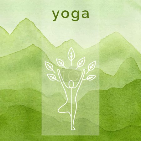 Poster for yoga class with a nature backdrop.
