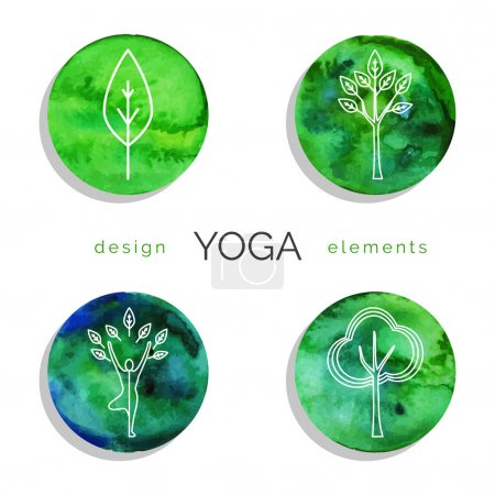 Set of linear yoga icons