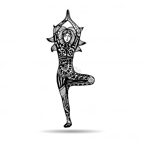 Illustration for Vector yoga illustration in zentangle style. Girl in yoga pose as emblem for yoga studio, yoga center, fitness center, sport magazine, also for tattoo. Hand drawn sketch in doodle style. - Royalty Free Image