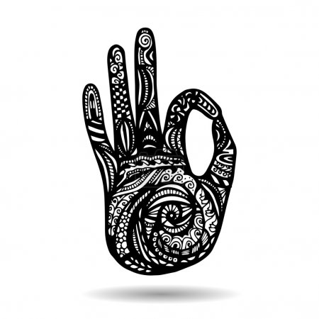Hand as emblem for yoga studio