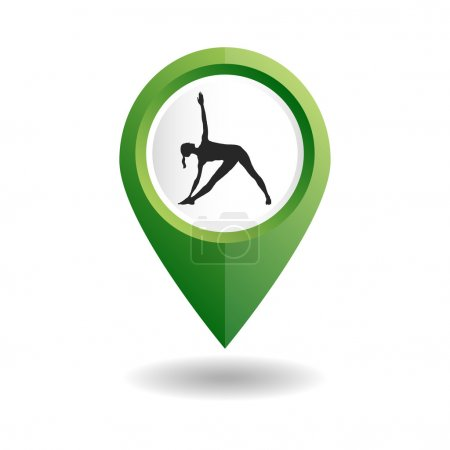 Illustration for Vector yoga illustration. map pointer with icon of a girl in a yoga pose. GPS location symbol. Flat design style. Map pointer for location of yoga studio, fitness center or yoga class. Ayurveda - Royalty Free Image