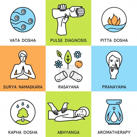 Illustration for Set linear icons for ayurveda design. Ayurveda vector illustration. Ayurveda logos in outline style. Design elements for ayurveda center, yoga studio, spa center. Ayurveda sticker. Ayurveda symbols. - Royalty Free Image