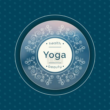 Illustration for Yoga vector illustration. Logo template for yoga studio or class. Monogram with floral ornament for SPA, yoga studio, beauty salon. Identity design with calligraphic elements and text. Yoga poster. - Royalty Free Image