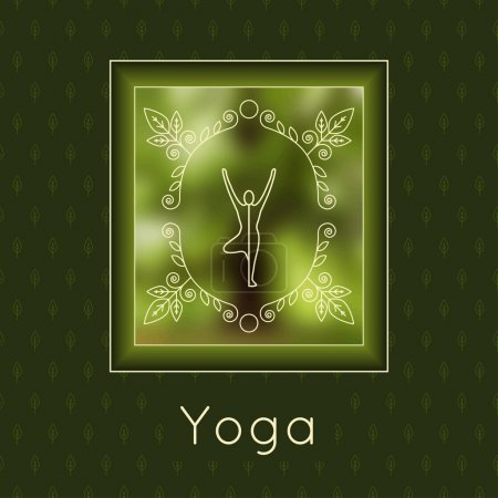 Illustration for Vector yoga illustration. Yoga poster with floral ornament and yogi silhouette. Identity design for yoga studio, yoga center or class. Template for SPA, beauty salon, ayurveda clinic in luxury style. - Royalty Free Image