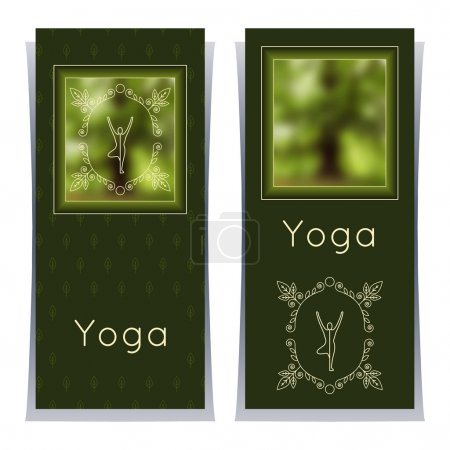 Illustration for Vector yoga illustration. Yoga posters with floral ornament and yogi silhouette. Identity design for yoga studio, yoga center or class. Template for SPA, beauty salon, ayurveda clinic in luxury style. - Royalty Free Image
