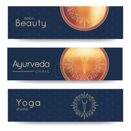 Elegant yoga vector banner.