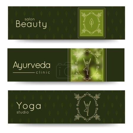 Illustration for Elegant yoga vector banner. Professional banner templates for yoga studio, yoga website, yoga magazine, publishing, presentation. Identity design for SPA, beauty salon, ayurveda clinic in luxury style - Royalty Free Image