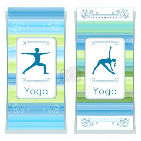 Illustration for Vector yoga illustration. Yoga posters with floral ornament and yogi silhouette. Identity design for yoga studio, yoga center, class, also for magazine, presentation. Template of flyer, banner, card. - Royalty Free Image