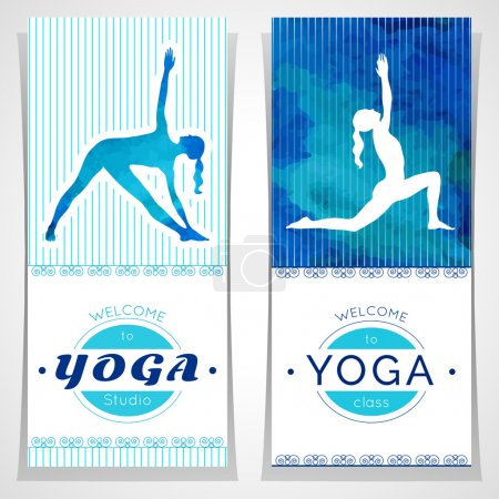 Illustration for Vector yoga illustration. Yoga posters with watercolor texture and yogi silhouette. Identity design for yoga studio, yoga center, class, for magazine, presentation. Template of flyer, banner, card. - Royalty Free Image
