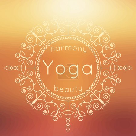 Illustration for Vector yoga illustration. Yoga poster with floral ornament and blurred backdrop. Identity design for yoga studio, yoga center or class. Template for SPA, beauty salon, ayurveda clinic in luxury style. - Royalty Free Image