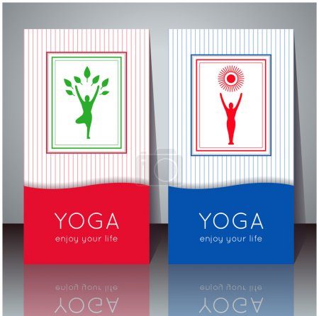 Illustration for Vector yoga illustration. Yoga cards with your text and yogi silhouette. Identity design for yoga studio, yoga center, class, for magazine, presentation. Template of yoga poster, flyer, banner, card. - Royalty Free Image