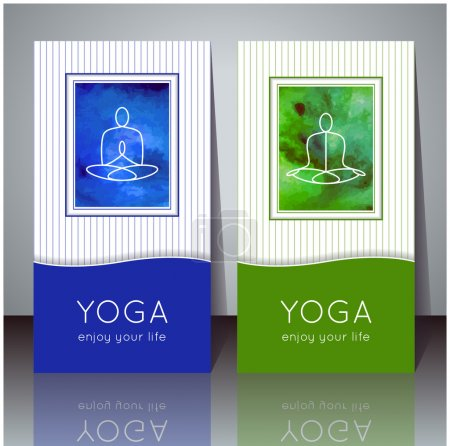 Illustration for Vector yoga illustration. Yoga cards with watercolor texture and yogi silhouette. Identity design for yoga studio, yoga center, class, magazine, presentation. Template of yoga poster, flyer, banner. - Royalty Free Image