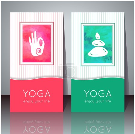 Illustration for Vector yoga illustration. Yoga cards with watercolor texture and yoga symbols. Identity design for yoga studio, yoga center, class, magazine, presentation. Template of yoga poster, flyer, banner. - Royalty Free Image