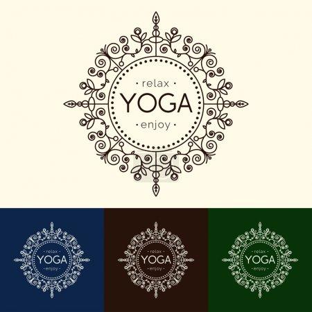 Illustration for Vector yoga illustration. Elegant yoga emblem with floral ornament. Professional identity design for yoga studio, yoga center or class. Logotype for SPA, beauty salon, ayurveda clinic in luxury style. - Royalty Free Image
