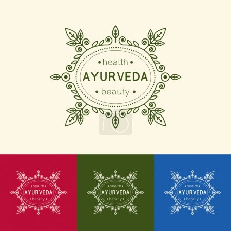Illustration for Ayurveda vector illustration. Logo template for ayurvedic clinic or center. Monogram with floral ornament for SPA, yoga studio, beauty salon. Poster design with calligraphic elements and text. - Royalty Free Image