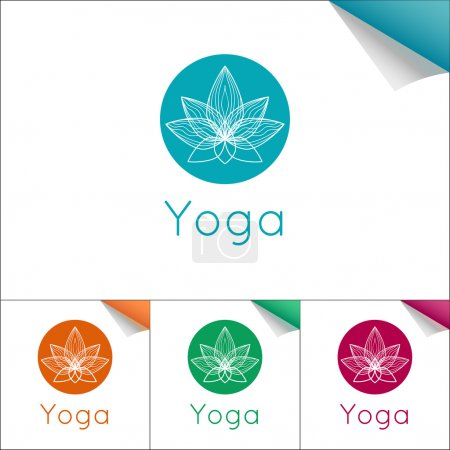 Illustration for Vector yoga illustration. Flat yoga emblem with lotus symbol. Professional identity design for yoga studio, yoga center or class. Logotype for SPA, beauty salon, ayurveda clinic in linear style. - Royalty Free Image