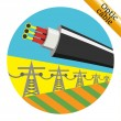 Optic cable hanging on power lines. Vector illustr...