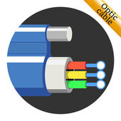 Optic cable icon on black background Vector illustration