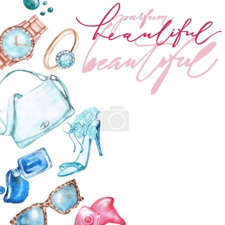 Photo pour Aquarelle mode et fond cosmétique avec des objets d'artiste maquillage : montre de dames, sac à main, vernis à ongles, bijoux, chaussures . - image libre de droit