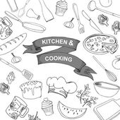 Cook's tools and items background  Hand-drawn design elements Vector illustration with items for cooking