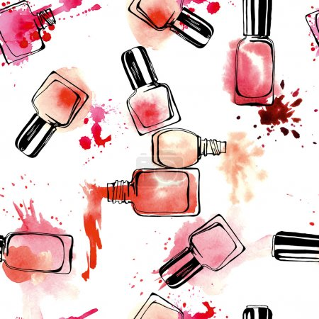 Watercolor seamless pattern with nail polish. Vector illustration.