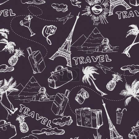 Illustration for Travel seamless background. Hand drawn summer holidays pattern. Vector illustration - Royalty Free Image
