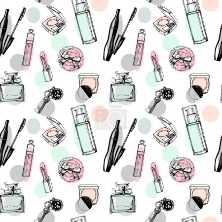 Fashionable seamless pattern with a beautiful perfume, mascara, keys, powder puff, blush. Cosmetics and fashion background. Vector illustration.