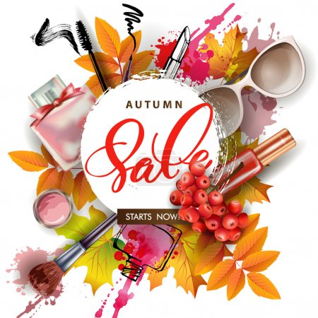 Sale banner with autumn leaves, cosmetics and Rowan berries. Vector Template. items cosmetics
