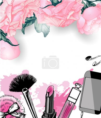 Cosmetics and fashion background with make up artist objects: nail Polish, lip gloss, powder brush, powder puff . Template Vector.