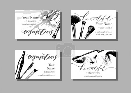 Makeup artist business cards. Vector template with...