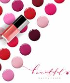 Colorful dots nail Polish  Beauty and cosmetics background Isolated on white Template Vector
