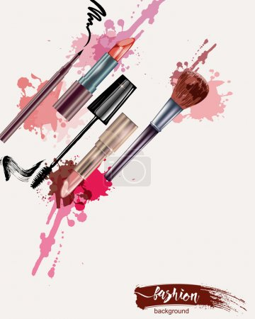 Cosmetics and fashion background with make-up objects