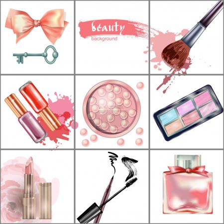 Watercolor cosmetics background