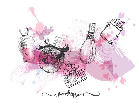 Illustration pour Bouteilles de parfum magnifique. Fond de belle et de la mode. Illustration vectorielle - image libre de droit