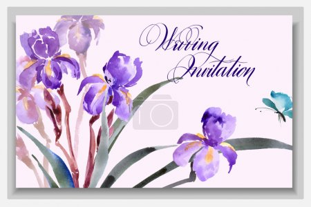 Illustration for Wedding invitation card with a watercolor blossoming irises with butterfly. Vector illustration. - Royalty Free Image