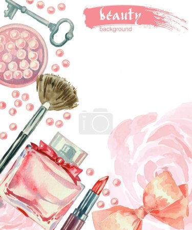 Illustration for Watercolor cosmetics pattern. Hand painted texture with make up artist objects: lipstick, blush, bow, key, brush. Vector beauty background - Royalty Free Image