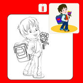 Coloring Book Coloring book pages with cartoon vector illustrationCute brown-haired boy with a satchel and a bunch of flowers his arm walking to school